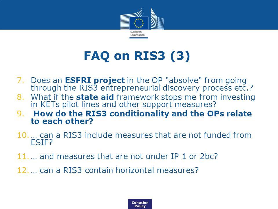 FAQ on RIS3 (3) 7.Does an ESFRI project in the OP