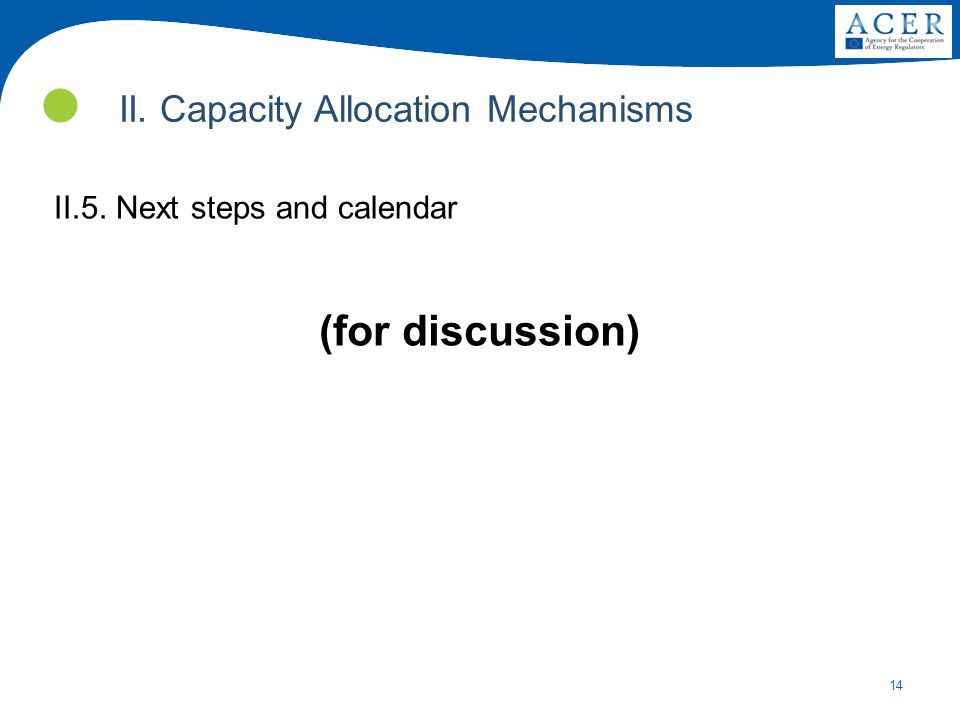 14 II. Capacity Allocation Mechanisms II.5. Next steps and calendar (for discussion)