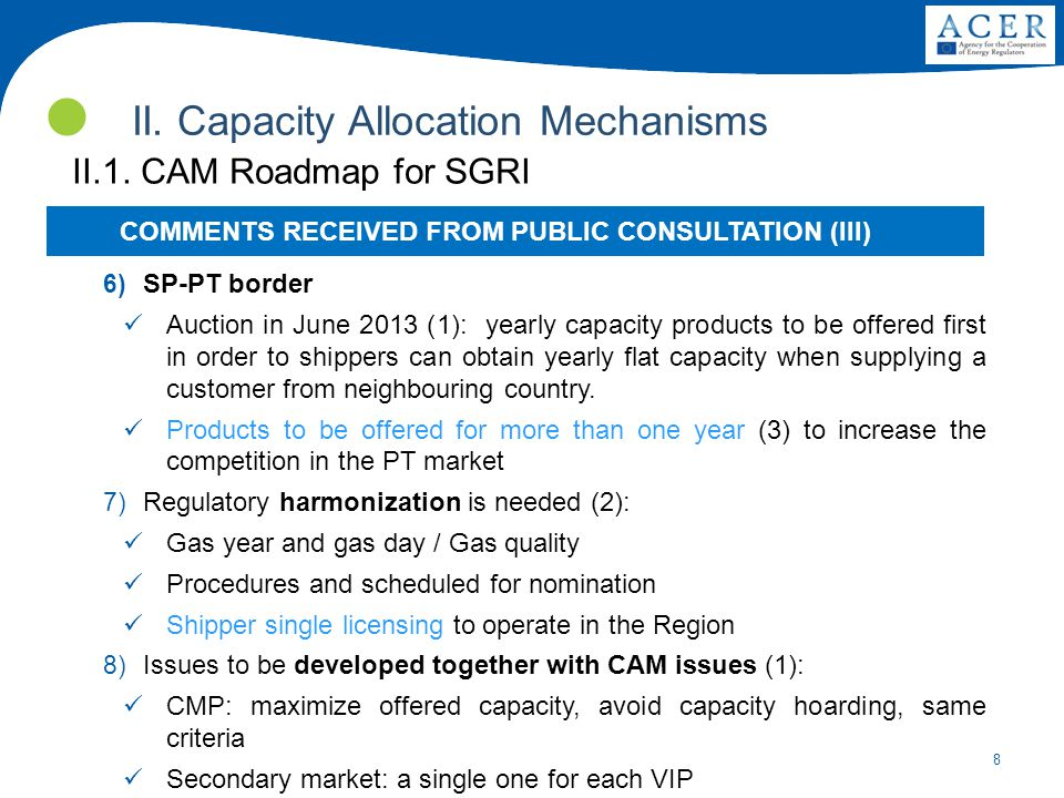 8 II. Capacity Allocation Mechanisms II.1.