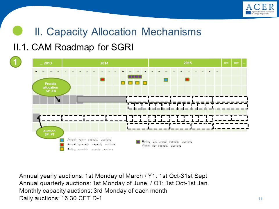 11 II. Capacity Allocation Mechanisms II.1. CAM Roadmap for SGRI 1 Annual yearly auctions: 1st Monday of March / Y1: 1st Oct-31st Sept Annual quarterl