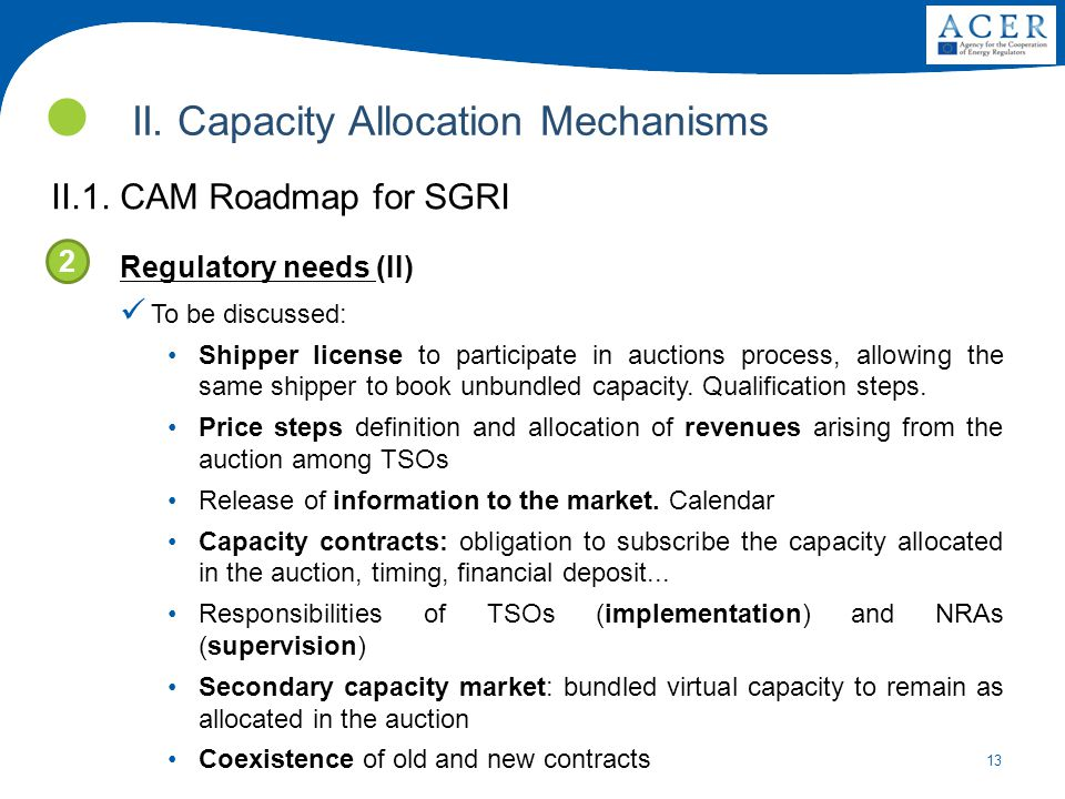 13 II. Capacity Allocation Mechanisms II.1. CAM Roadmap for SGRI Regulatory needs (II) To be discussed: Shipper license to participate in auctions pro