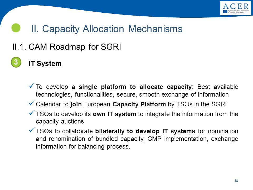 14 II. Capacity Allocation Mechanisms II.1. CAM Roadmap for SGRI IT System To develop a single platform to allocate capacity: Best available technolog