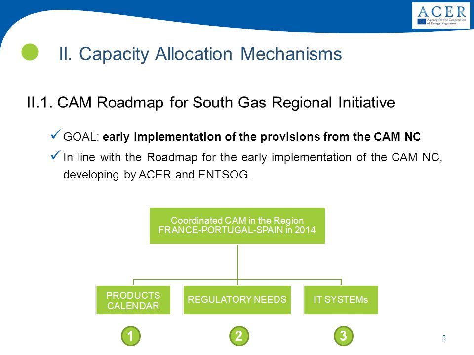 5 II. Capacity Allocation Mechanisms II.1. CAM Roadmap for South Gas Regional Initiative GOAL: early implementation of the provisions from the CAM NC