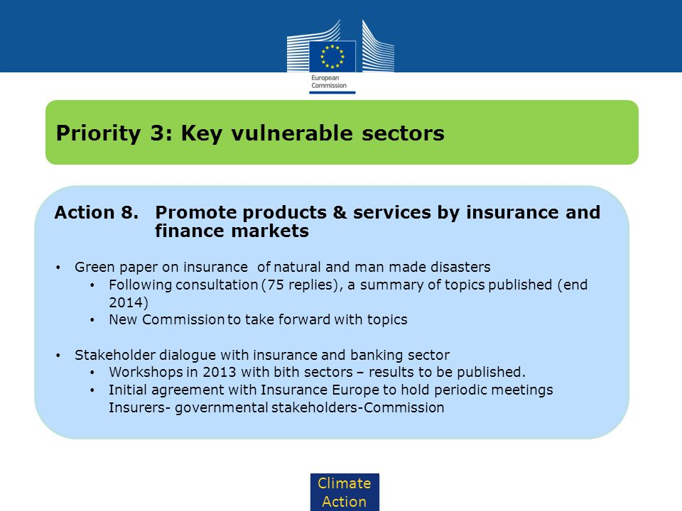 Climate Action Action 8. Promote products & services by insurance and finance markets Green paper on insurance of natural and man made disasters Follo