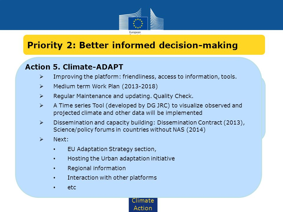 Climate Action Action 5. Climate-ADAPT: Develop interfaces with other databases and climate services Inclusion of Copernicus (Ex-GMES) climate service