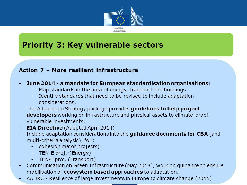 Climate Action Action 7 – More resilient infrastructure -June 2014 - a mandate for European standardisation organisations: -Map standards in the area