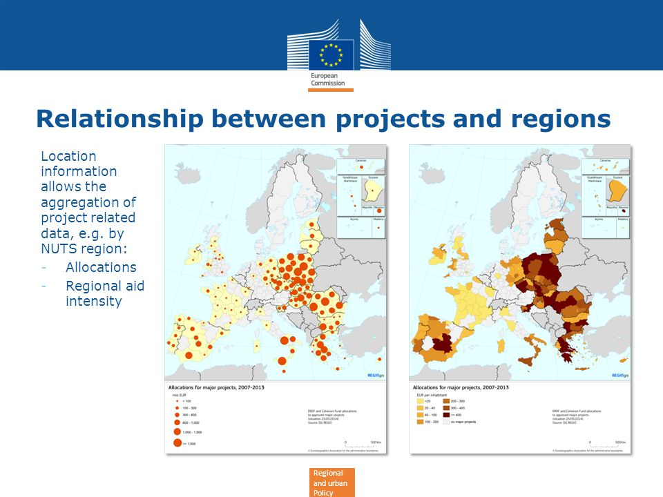 Regional and urban Policy Relationship between projects and regions Location information allows the aggregation of project related data, e.g.