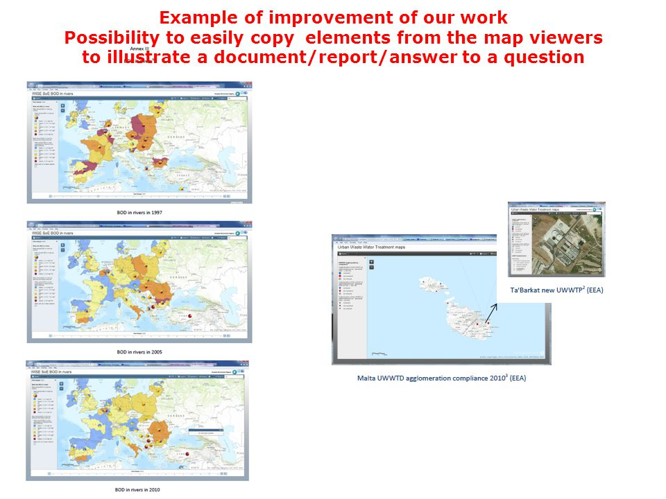 Example of improvement of our work Possibility to easily copy elements from the map viewers to illustrate a document/report/answer to a question