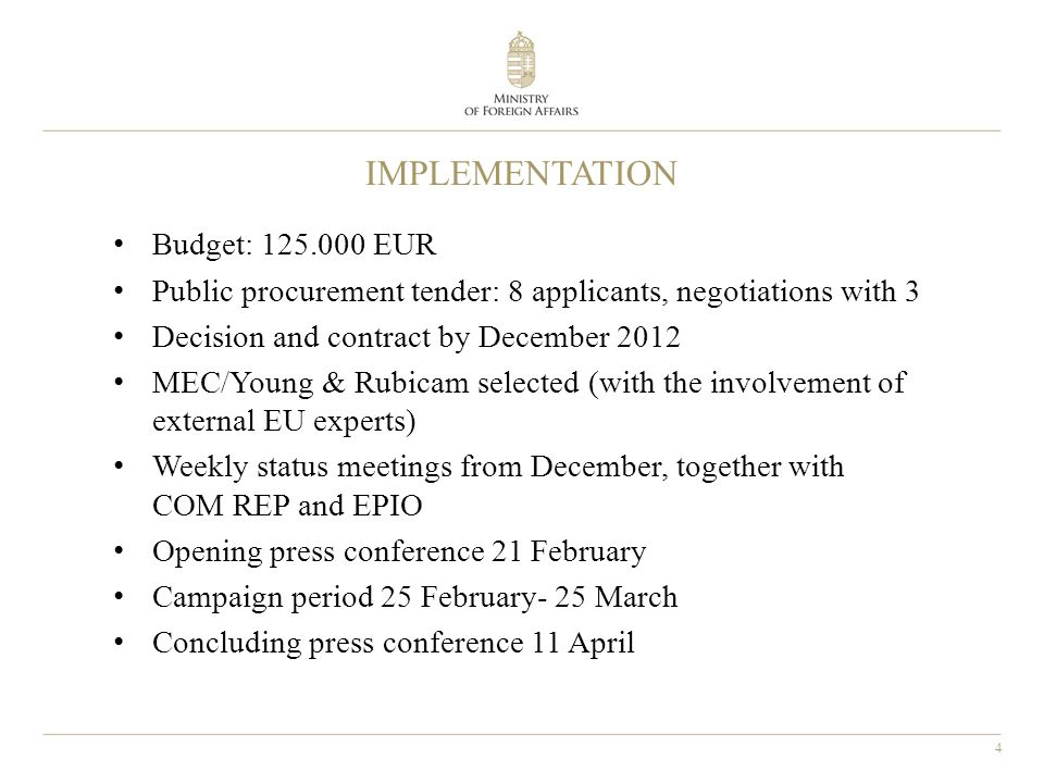 4 IMPLEMENTATION Budget: 125.000 EUR Public procurement tender: 8 applicants, negotiations with 3 Decision and contract by December 2012 MEC/Young & Rubicam selected (with the involvement of external EU experts) Weekly status meetings from December, together with COM REP and EPIO Opening press conference 21 February Campaign period 25 February- 25 March Concluding press conference 11 April