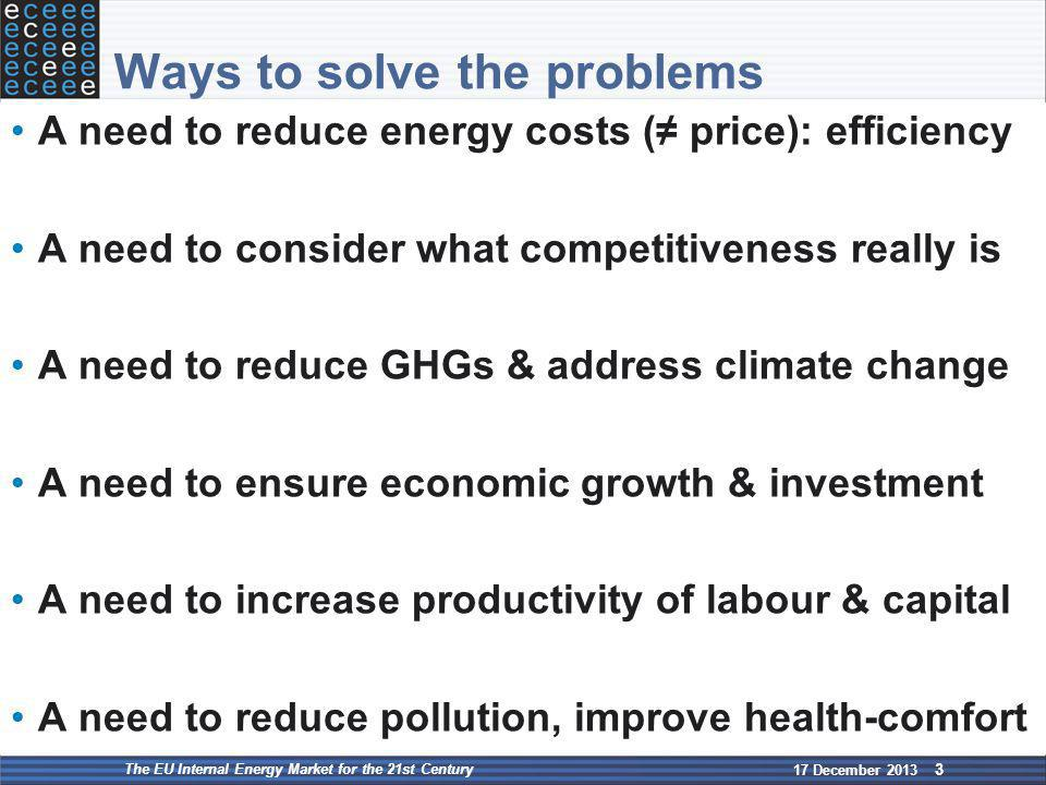 Ways to solve the problems A need to reduce energy costs (≠ price): efficiency A need to consider what competitiveness really is A need to reduce GHGs