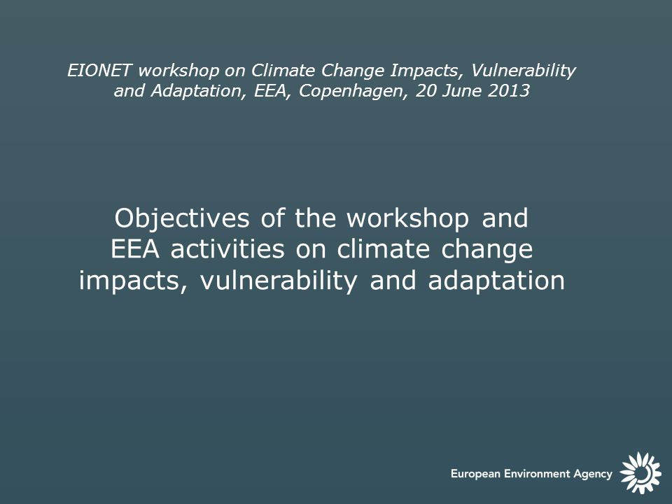 EIONET workshop on Climate Change Impacts, Vulnerability and Adaptation, EEA, Copenhagen, 20 June 2013 Objectives of the workshop and EEA activities on climate change impacts, vulnerability and adaptation