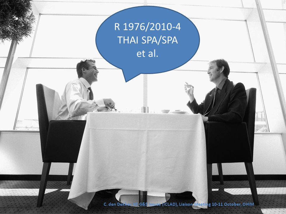 R 1976/2010-4 THAI SPA/SPA et al. C. den Dekker, KC G&S Issues (ICLAD), Liaison Meeting 10-11 October, OHIM