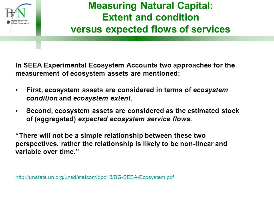 Measuring Natural Capital: Extent and condition versus expected flows of services In SEEA Experimental Ecosystem Accounts two approaches for the measurement of ecosystem assets are mentioned: First, ecosystem assets are considered in terms of ecosystem condition and ecosystem extent.