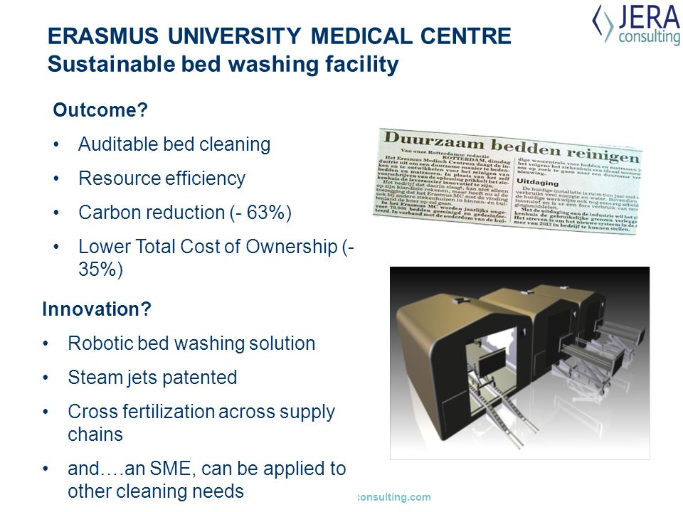 gaynor.whyles@jeraconsulting.com ERASMUS UNIVERSITY MEDICAL CENTRE Sustainable bed washing facility Innovation? Robotic bed washing solution Steam jet