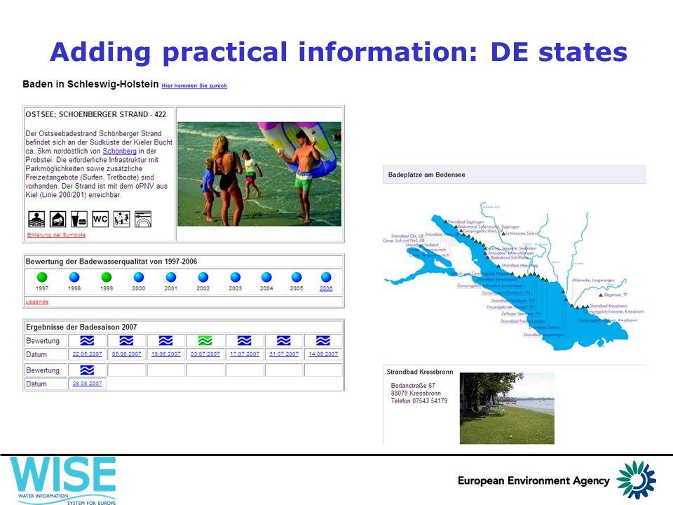 Adding practical information: DE states