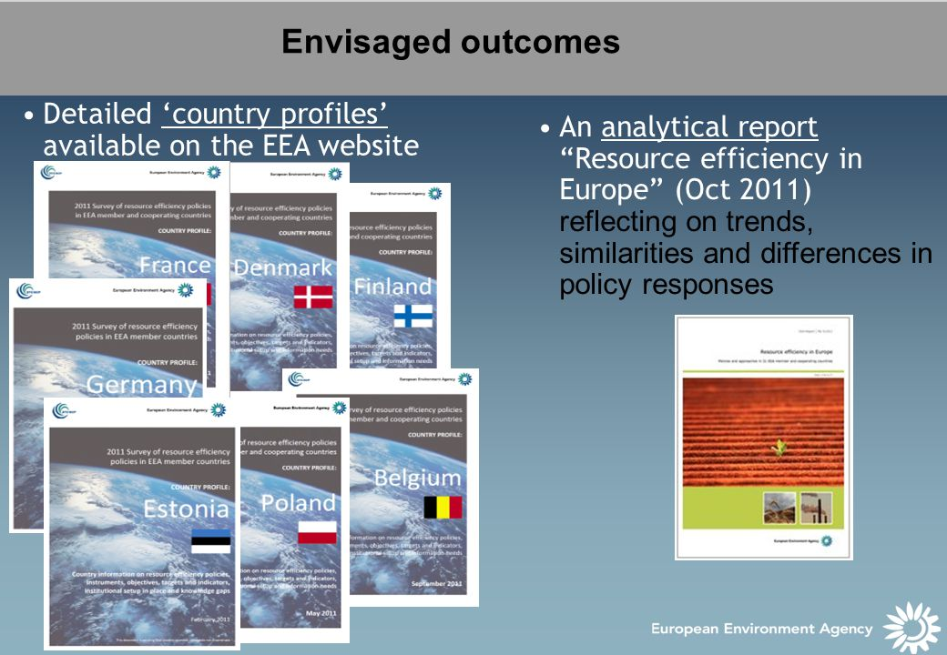 Envisaged outcomes An analytical report Resource efficiency in Europe (Oct 2011) reflecting on trends, similarities and differences in policy responses Detailed 'country profiles' available on the EEA website