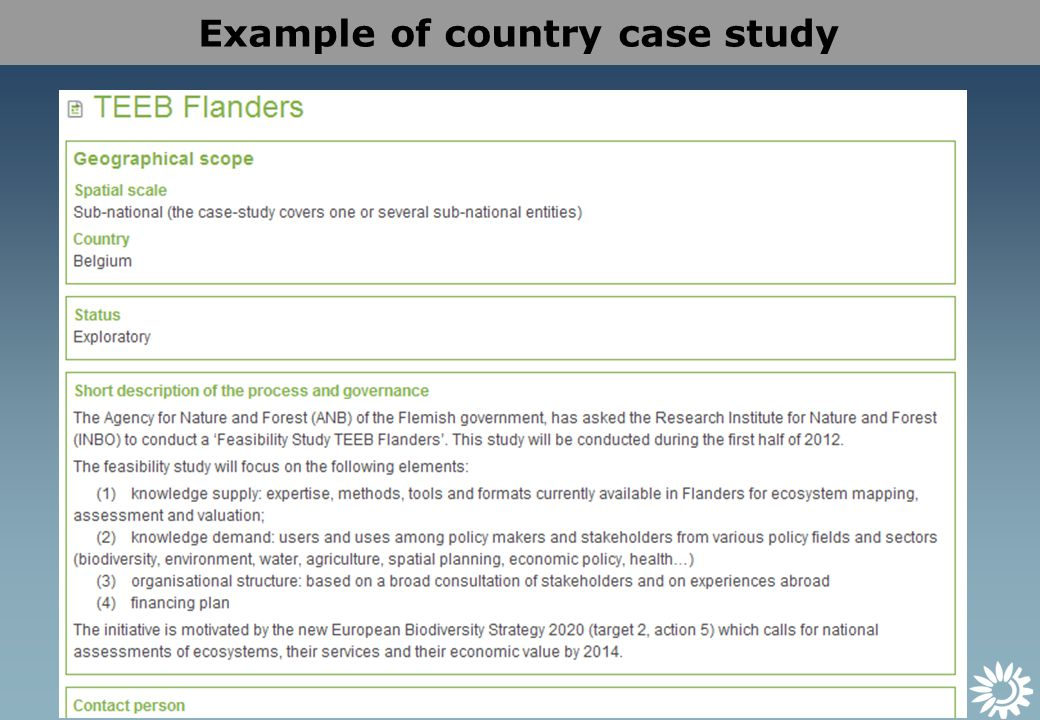 Example of country case study