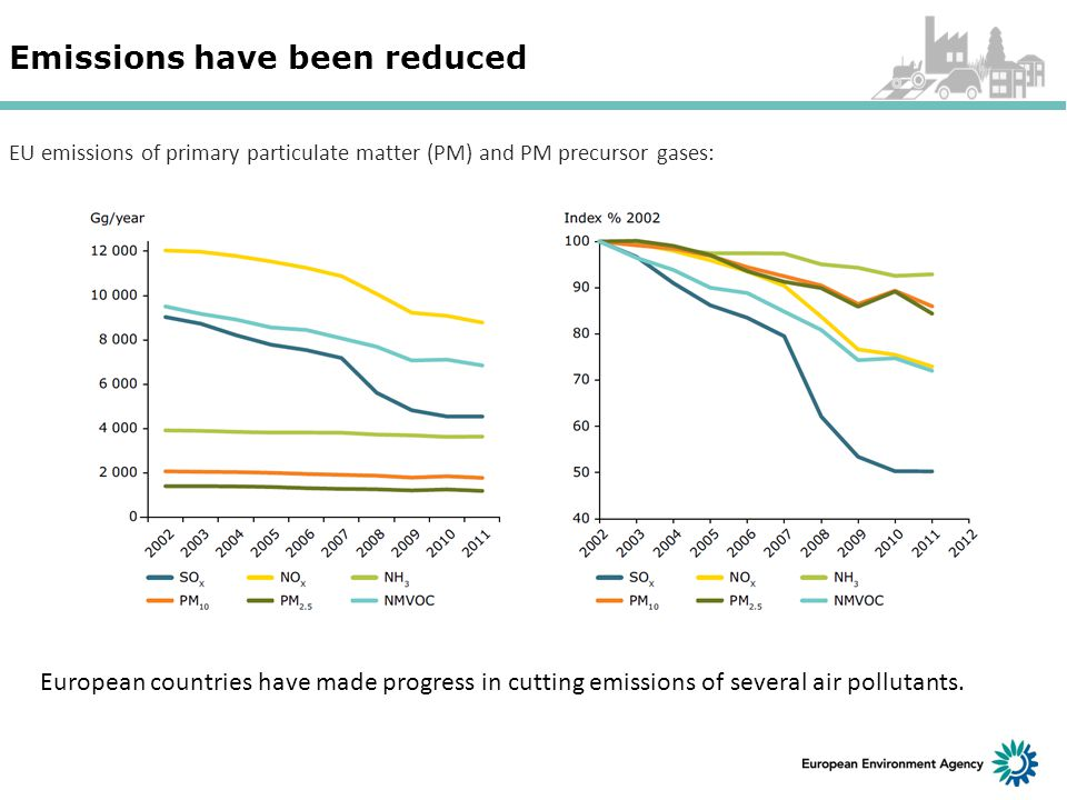 Emissions have been reduced European countries have made progress in cutting emissions of several air pollutants.