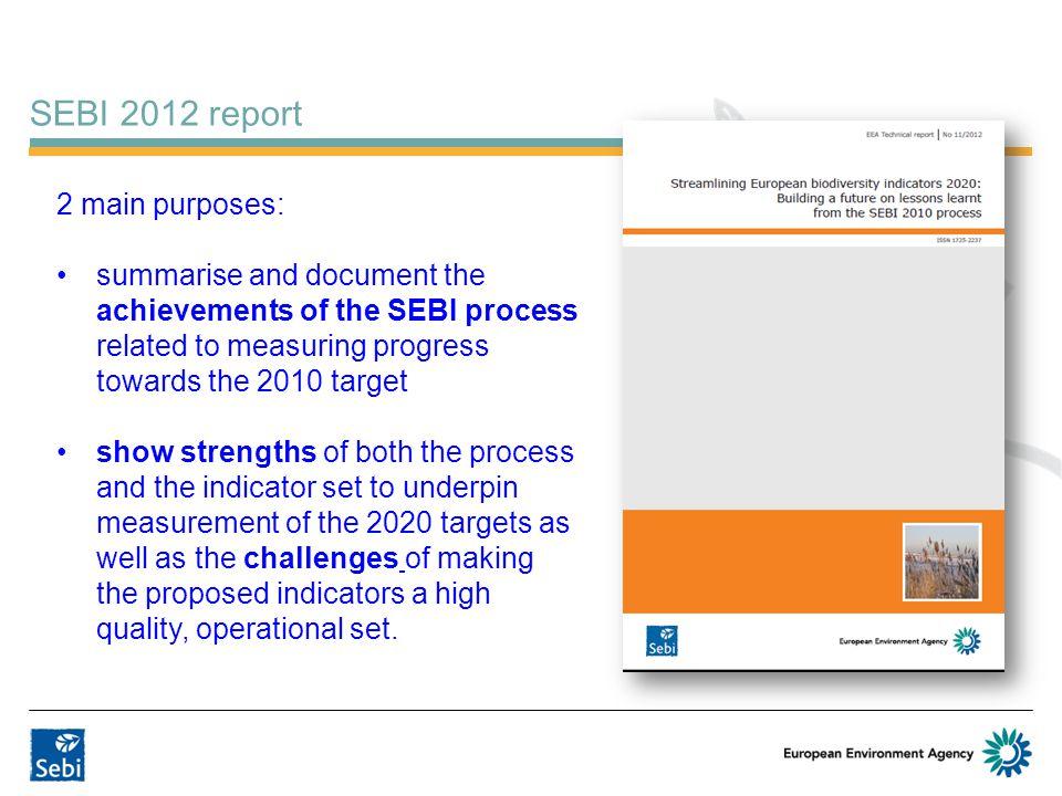 SEBI 2012 report 2 main purposes: summarise and document the achievements of the SEBI process related to measuring progress towards the 2010 target sh