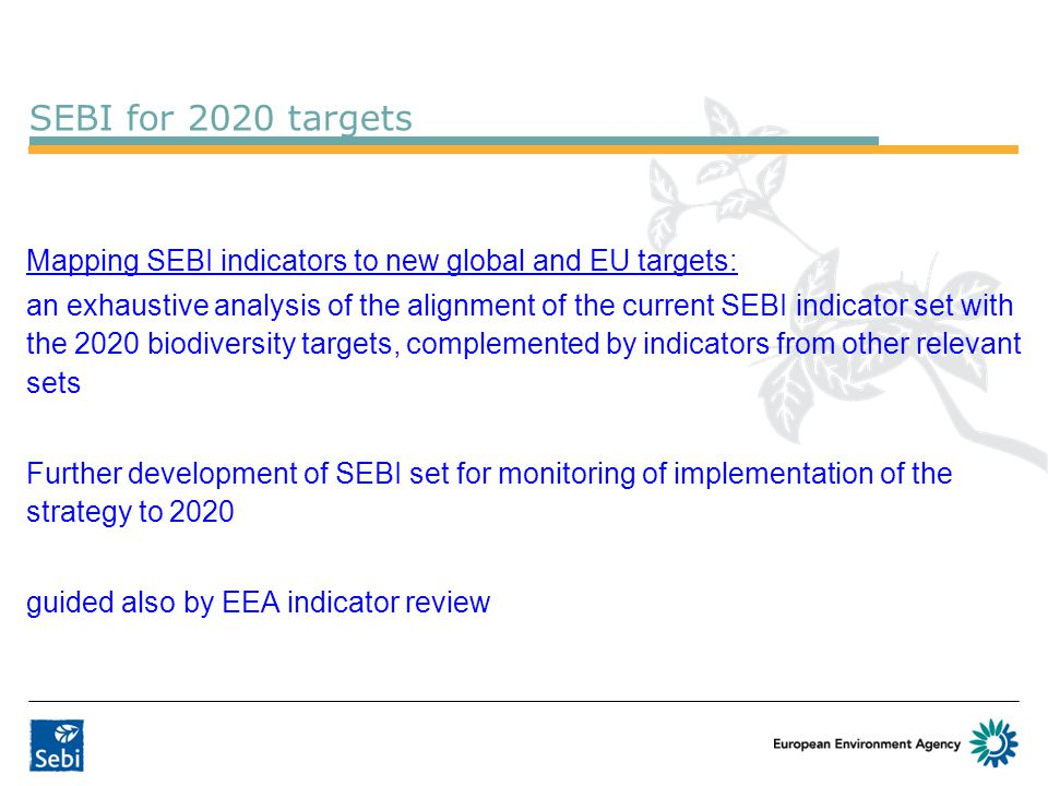 SEBI for 2020 targets Mapping SEBI indicators to new global and EU targets: an exhaustive analysis of the alignment of the current SEBI indicator set with the 2020 biodiversity targets, complemented by indicators from other relevant sets Further development of SEBI set for monitoring of implementation of the strategy to 2020 guided also by EEA indicator review