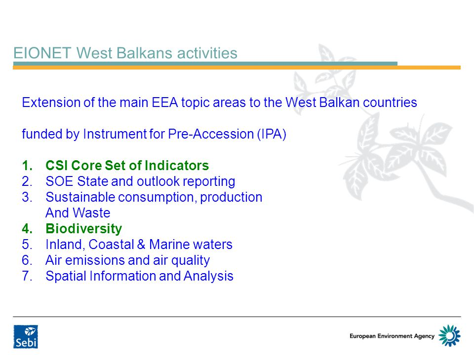 EIONET West Balkans activities Extension of the main EEA topic areas to the West Balkan countries funded by Instrument for Pre-Accession (IPA) 1.CSI C