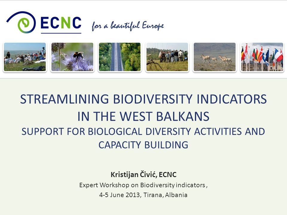 for a beautiful Europe Kristijan Čivić, ECNC Expert Workshop on Biodiversity indicators, 4-5 June 2013, Tirana, Albania STREAMLINING BIODIVERSITY INDICATORS IN THE WEST BALKANS SUPPORT FOR BIOLOGICAL DIVERSITY ACTIVITIES AND CAPACITY BUILDING