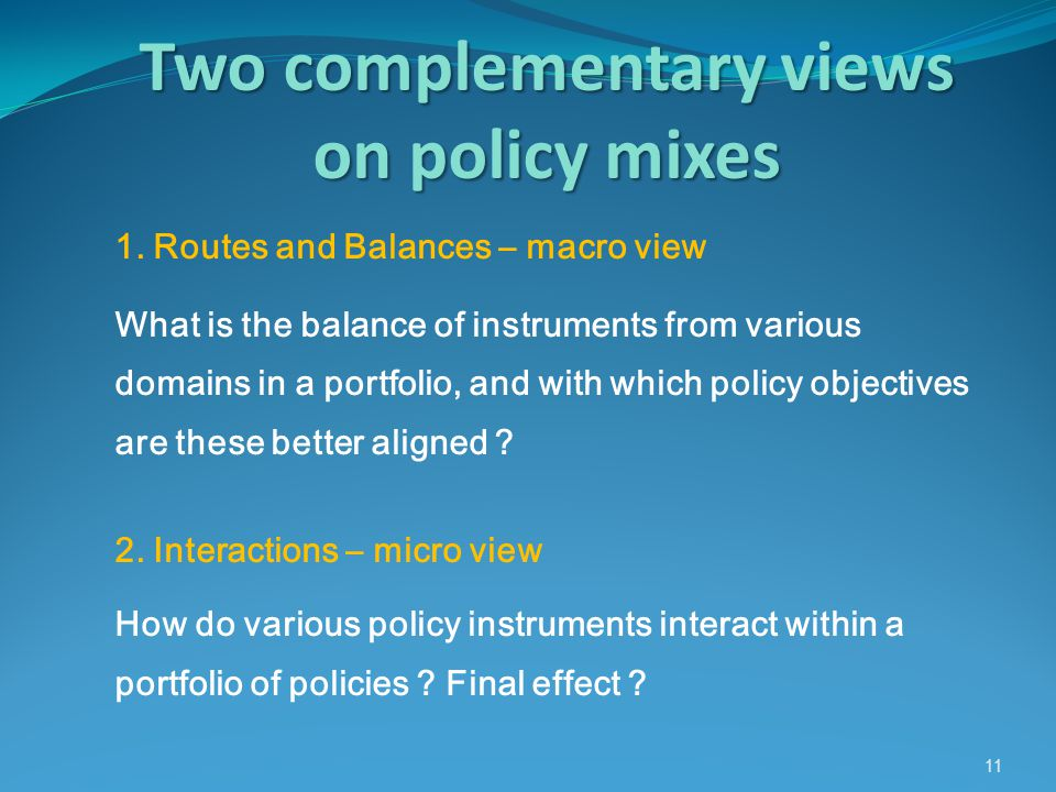 Two complementary views on policy mixes 11 1.