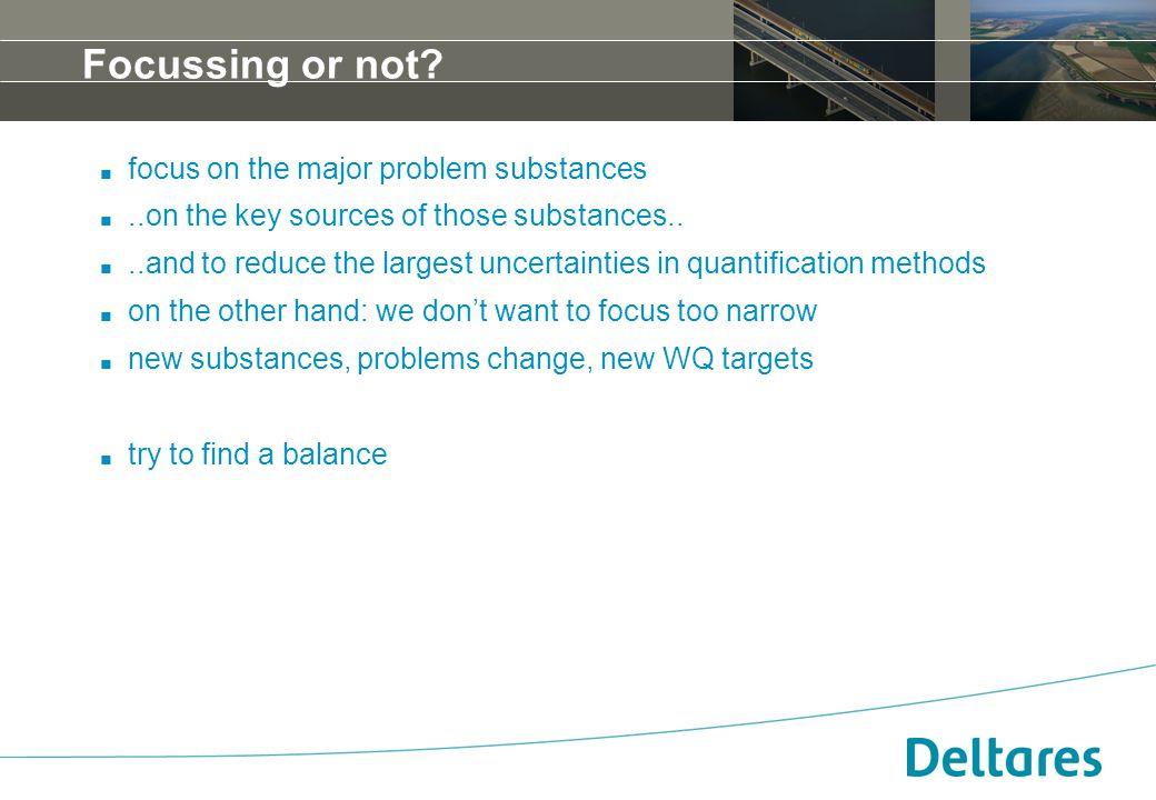 12 september 2007Positionering, branding en huisstijl Deltares -14 Focussing or not?. focus on the major problem substances...on the key sources of th