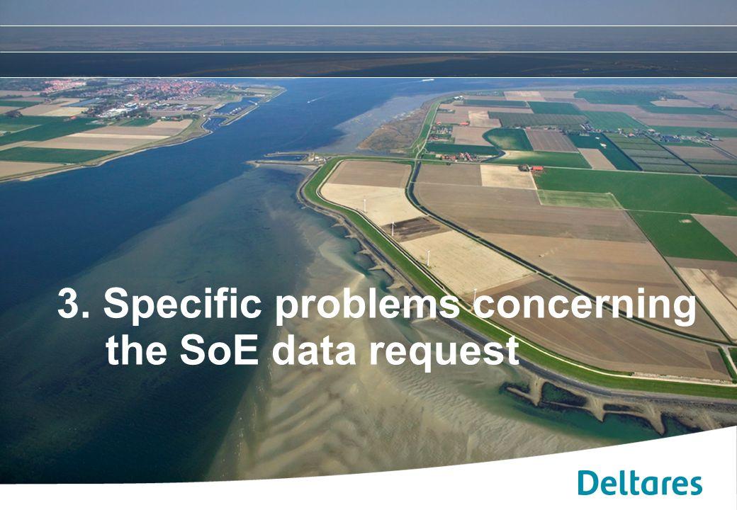 12 september 2007Positionering, branding en huisstijl Deltares -9 3. Specific problems concerning the SoE data request