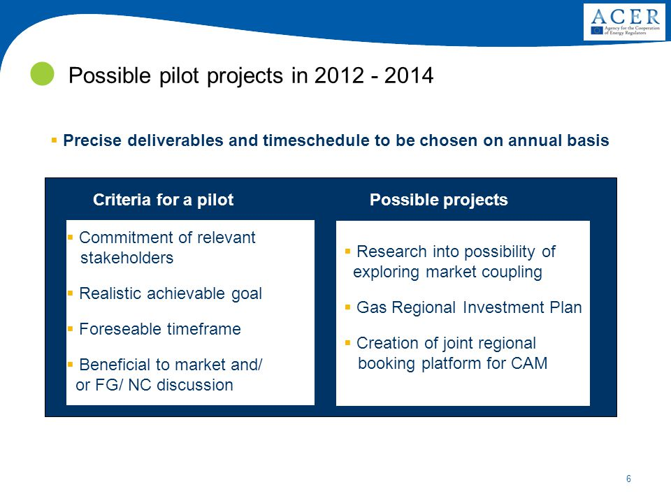 6 Possible pilot projects in 2012 - 2014  Commitment of relevant stakeholders  Realistic achievable goal  Foreseable timeframe  Beneficial to mark