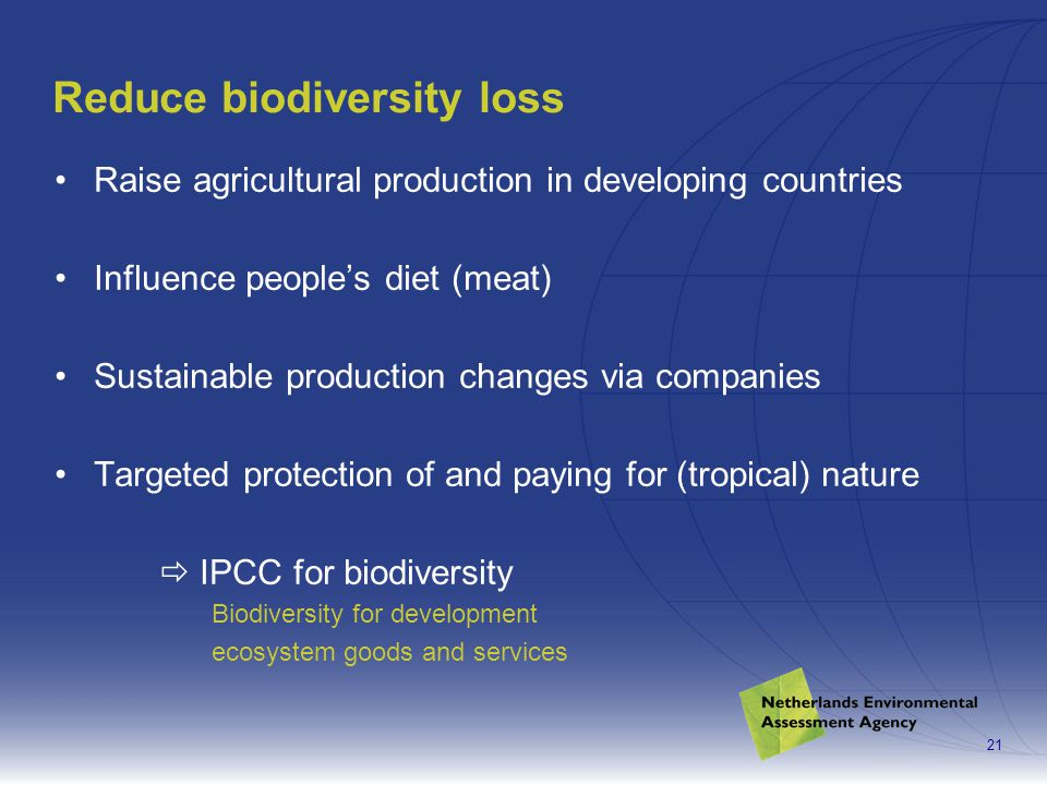 21 Reduce biodiversity loss Raise agricultural production in developing countries Influence people's diet (meat) Sustainable production changes via companies Targeted protection of and paying for (tropical) nature  IPCC for biodiversity Biodiversity for development ecosystem goods and services