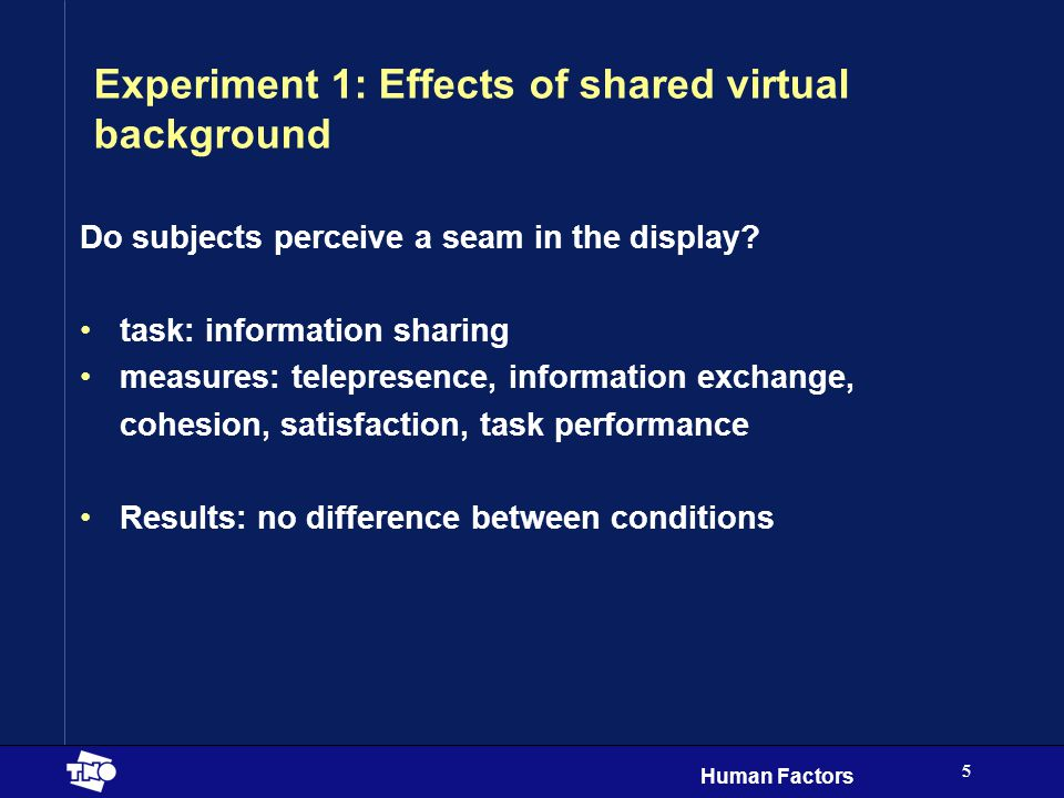 Human Factors 5 Experiment 1: Effects of shared virtual background Do subjects perceive a seam in the display.