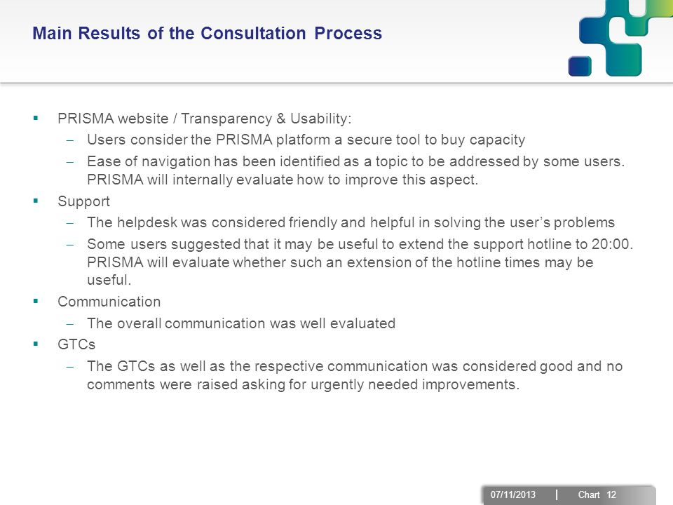 07/11/2013 | Chart 12 Main Results of the Consultation Process  PRISMA website / Transparency & Usability:  Users consider the PRISMA platform a sec