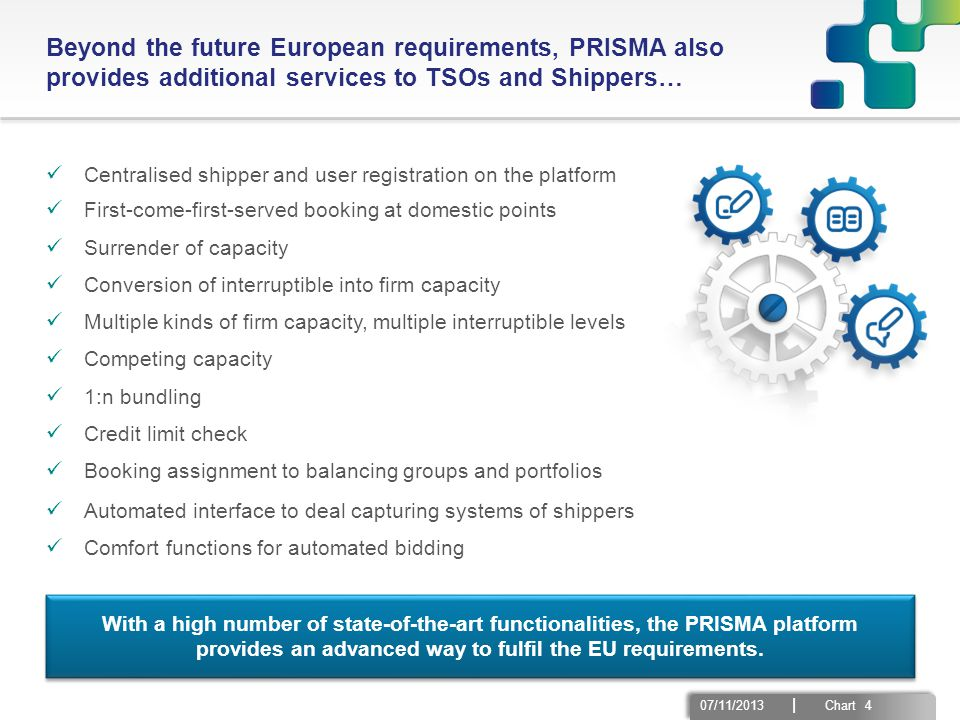 07/11/2013 | Chart 4 Beyond the future European requirements, PRISMA also provides additional services to TSOs and Shippers… Centralised shipper and u