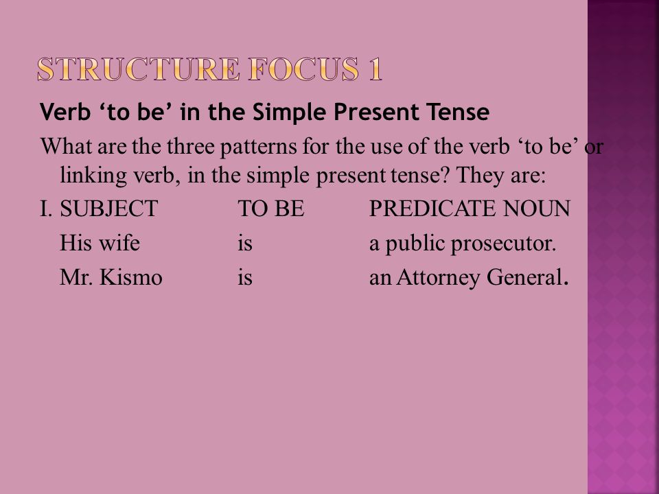 Verb 'to be' in the Simple Present Tense What are the three patterns for the use of the verb 'to be' or linking verb, in the simple present tense.