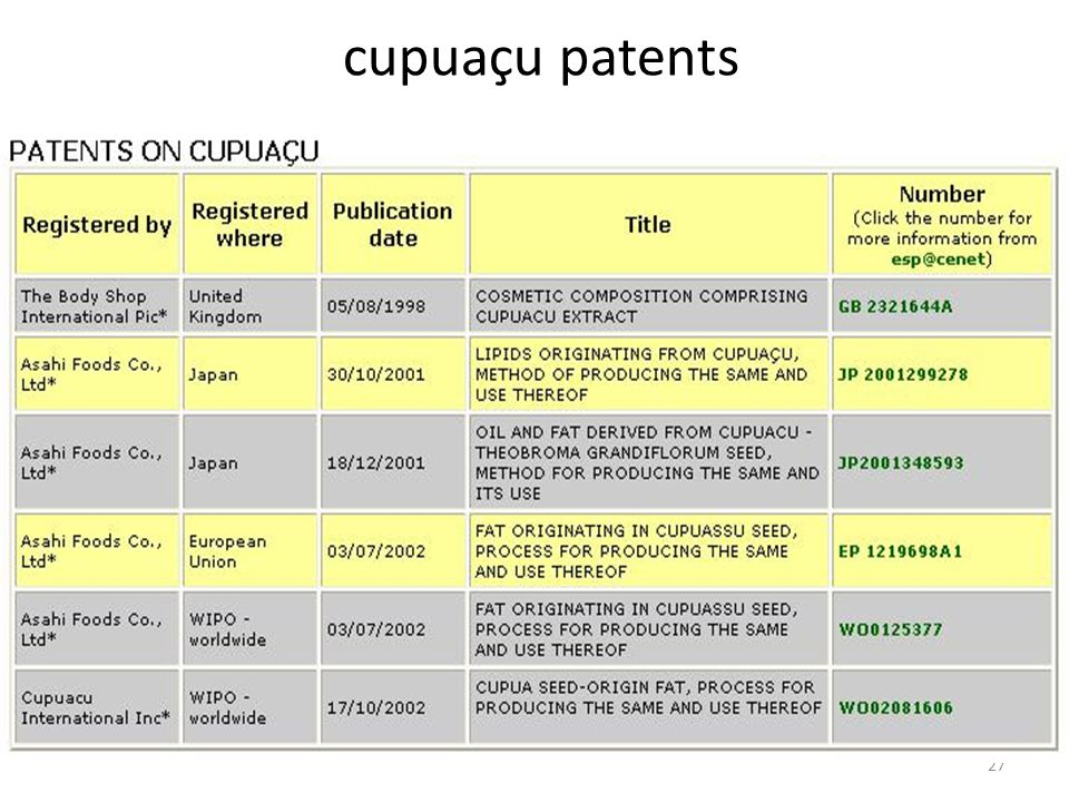 27 cupuaçu patents