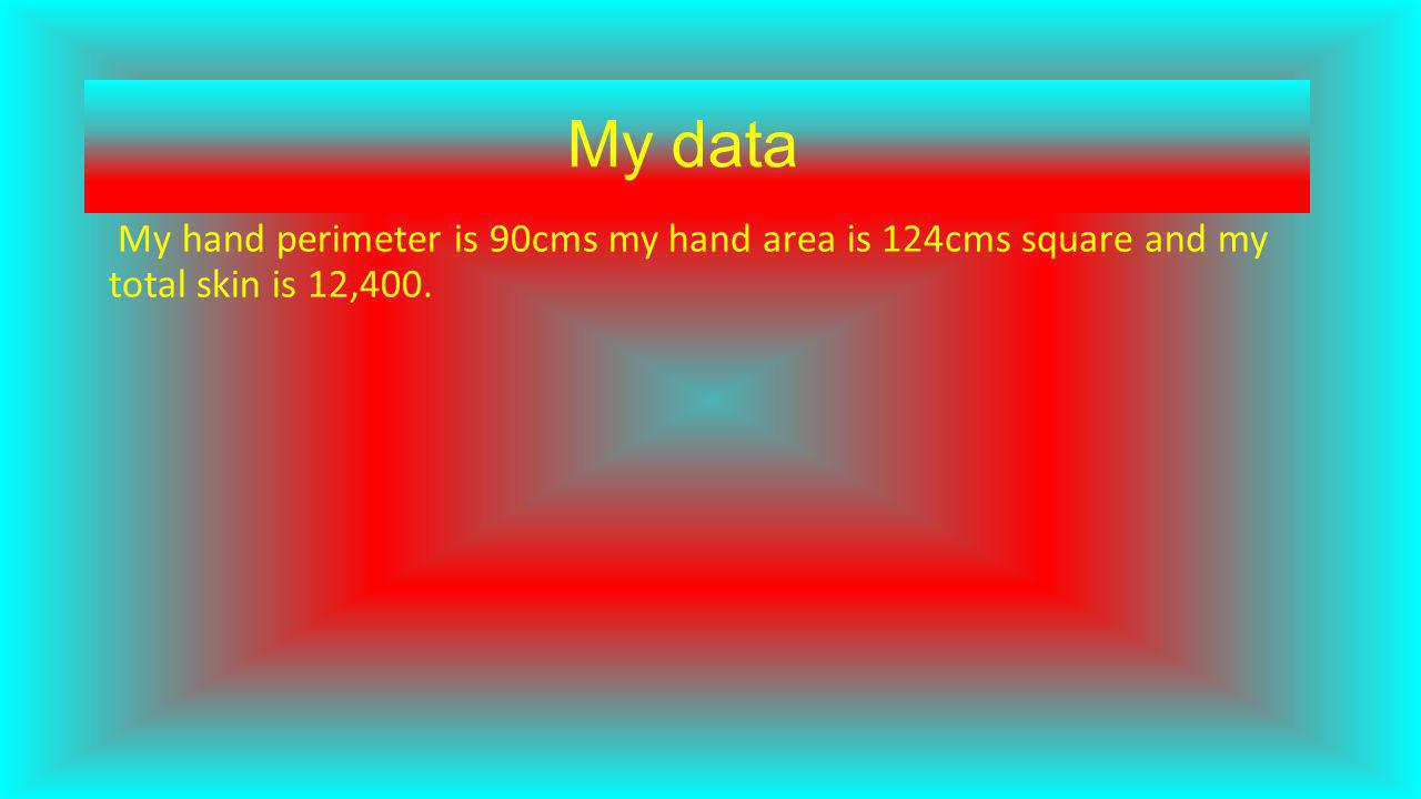 My data My hand perimeter is 90cms my hand area is 124cms square and my total skin is 12,400.