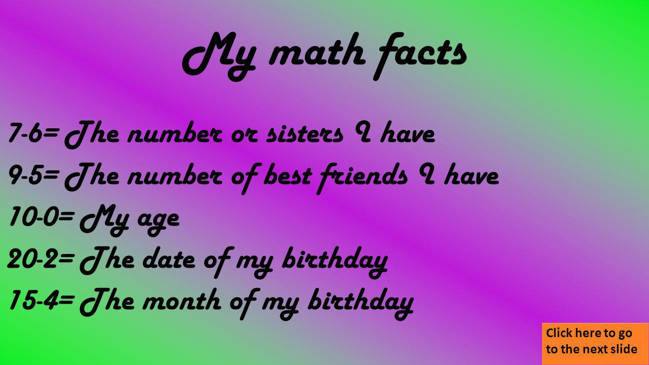 My math facts 7-6= The number or sisters I have 9-5= The number of best friends I have 10-0= My age 20-2= The date of my birthday 15-4= The month of my birthday Click here to go to the next slide