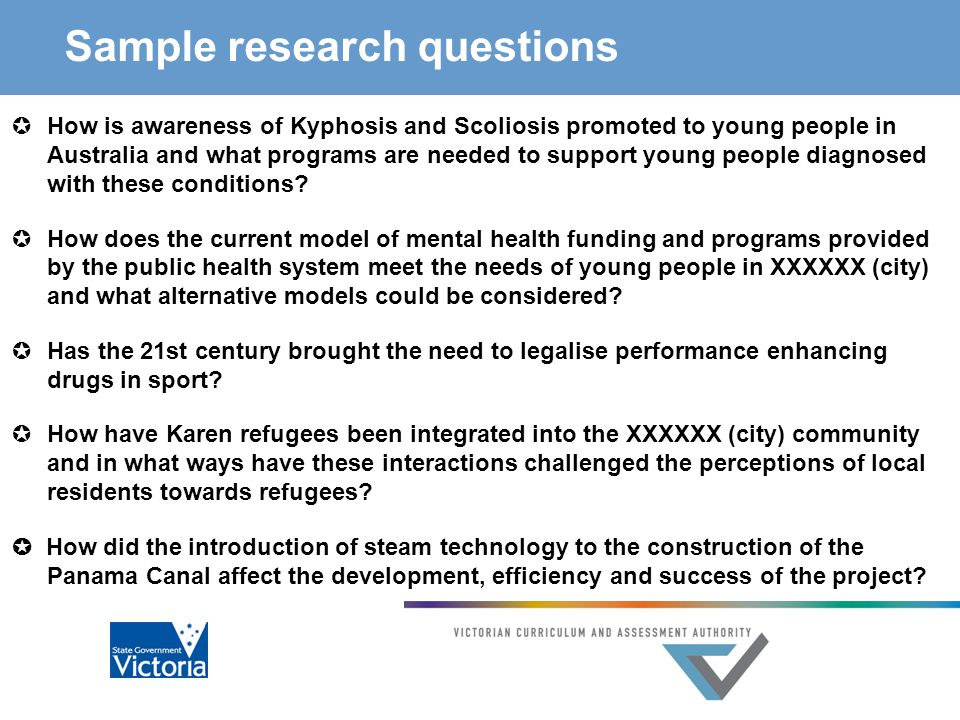 Sample research questions  How is awareness of Kyphosis and Scoliosis promoted to young people in Australia and what programs are needed to support young people diagnosed with these conditions.