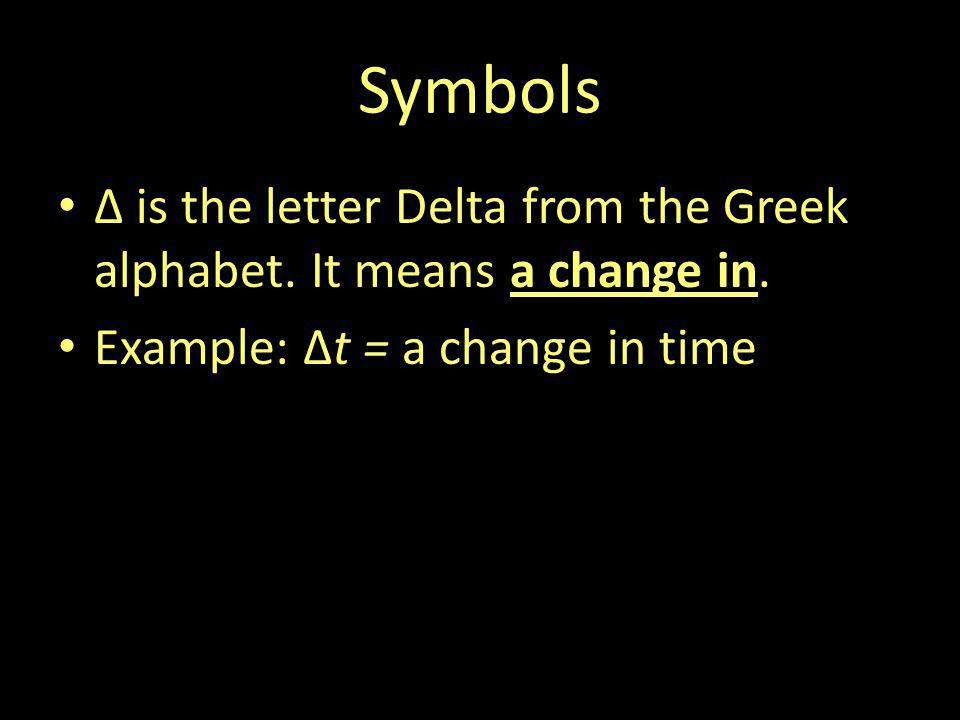 Symbols Δ is the letter Delta from the Greek alphabet. It means a change in. Example: Δt = a change in time