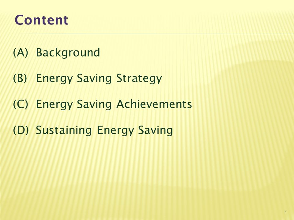 Content (A)Background (B)Energy Saving Strategy (C)Energy Saving Achievements (D)Sustaining Energy Saving 2