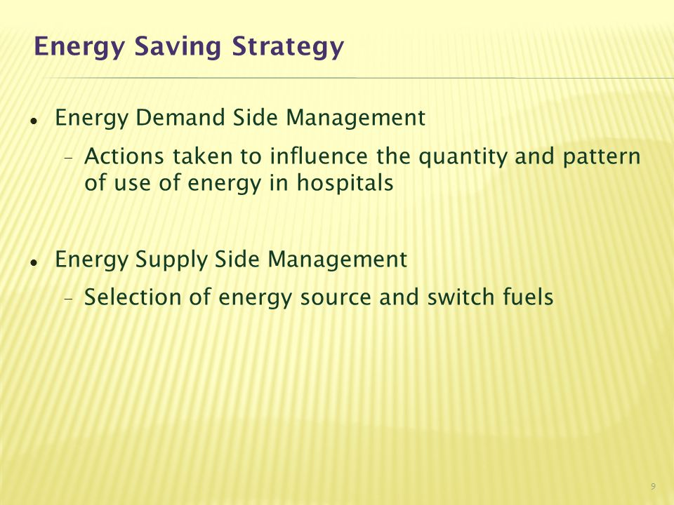Energy Supply Side Management - Alternative Choice of Energy Key considerations included: -Safety & Reliability -Environmental -Tariff Switching from Diesel fuel to Town gas - 9 hospitals already switched to towngas with offered rebate for dual fuel boilers 20
