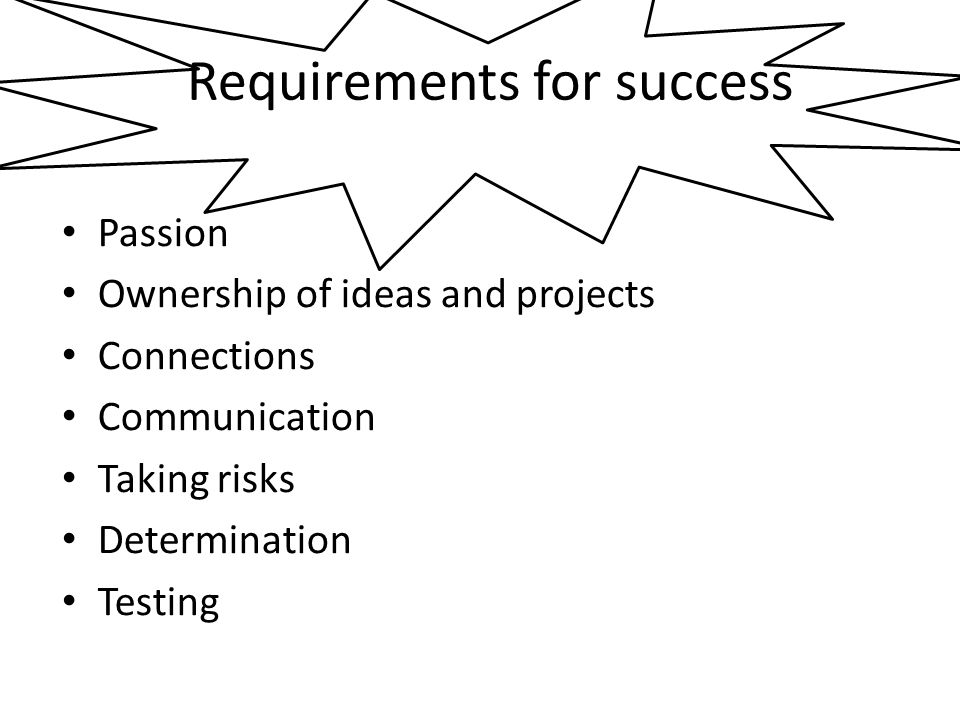 Requirements for success Passion Ownership of ideas and projects Connections Communication Taking risks Determination Testing
