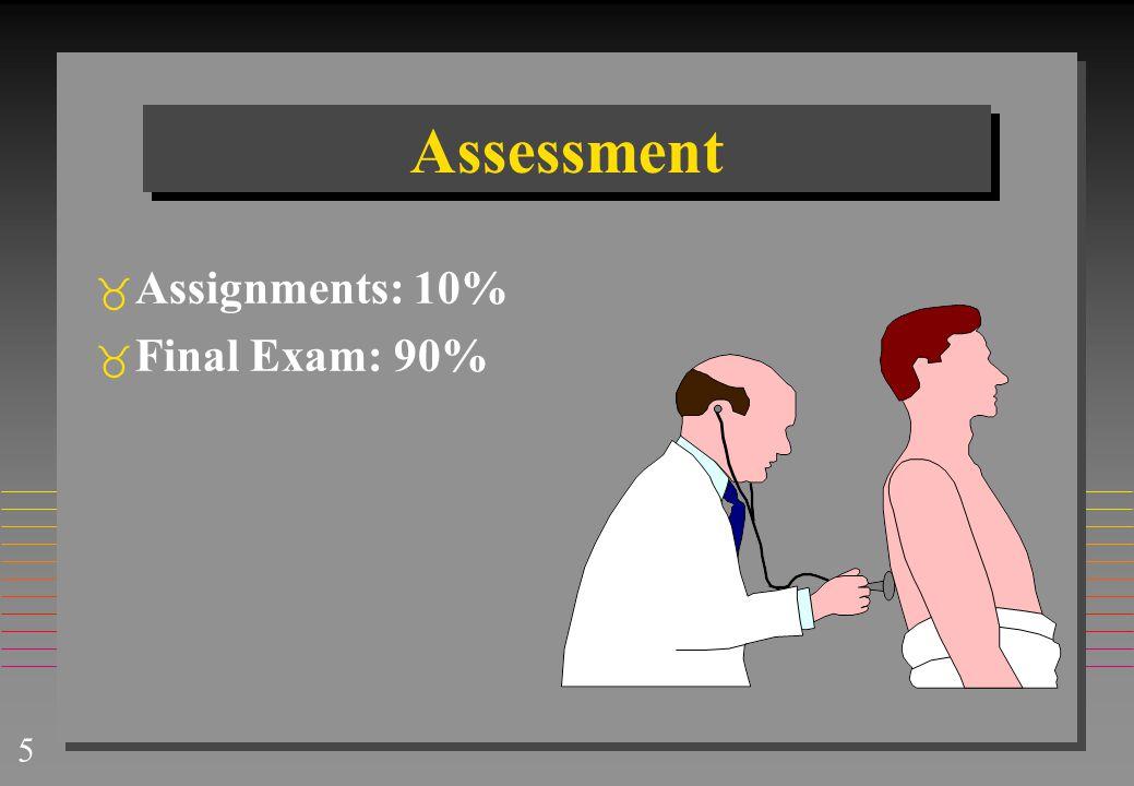 5 Assessment  Assignments: 10%  Final Exam: 90%