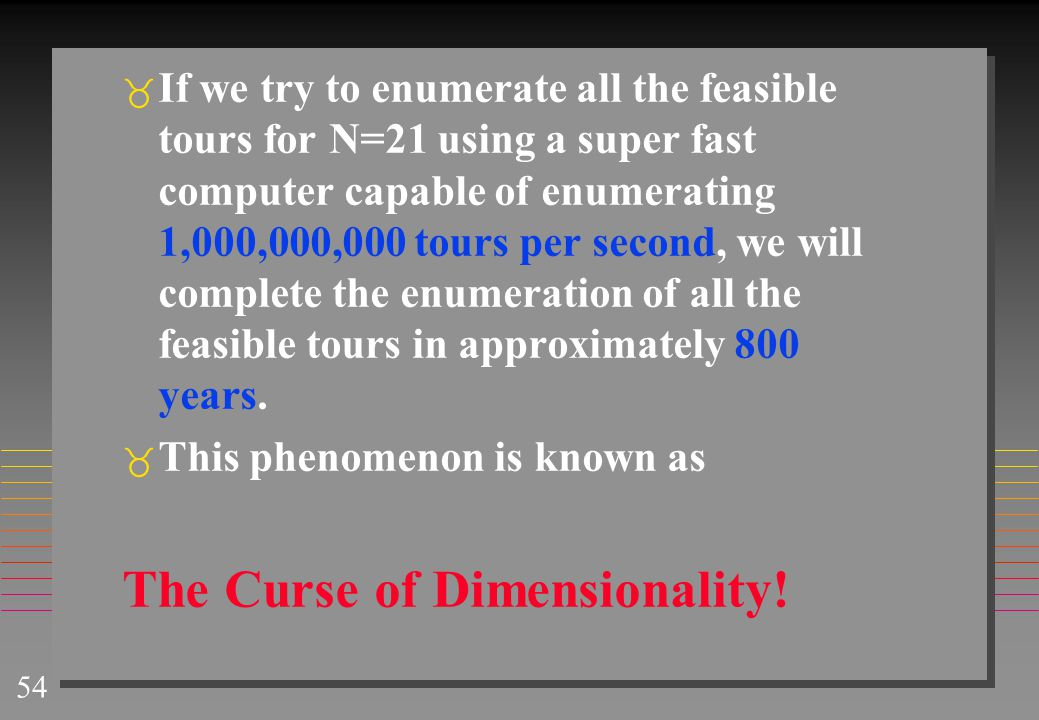 54  If we try to enumerate all the feasible tours for N=21 using a super fast computer capable of enumerating 1,000,000,000 tours per second, we will complete the enumeration of all the feasible tours in approximately 800 years.