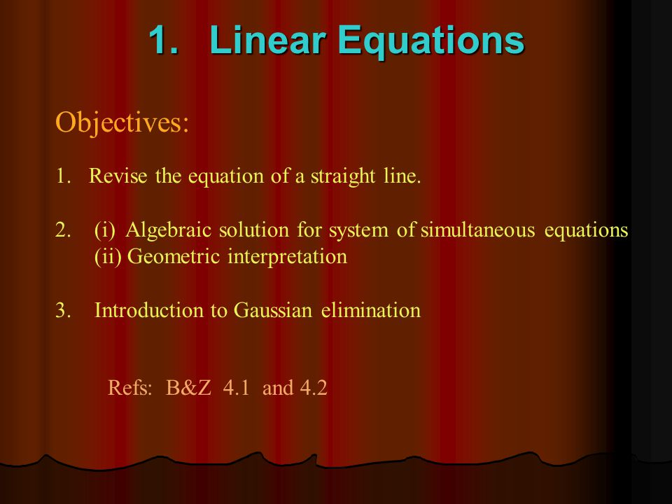 Outline of Topics 1.Linear Equations 2.Linear Programming (graphs) 3.Linear Programming (simplex) 4.Dual (LP), Logs/Exps 5.**Functions and Derivatives (one variable) 6.**Implicit differentiation 7.Optimization (one variable) 8.Partial Derivatives 9.Optimization (two variables) 10.Complex Numbers 11.Differential Equations