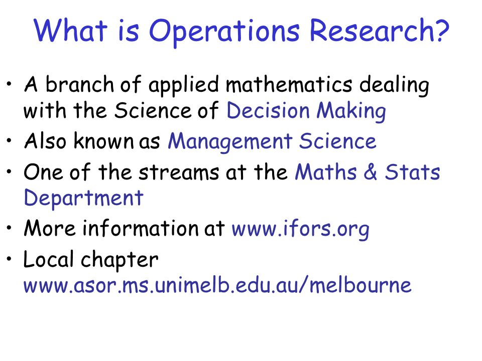 What is Operations Research.