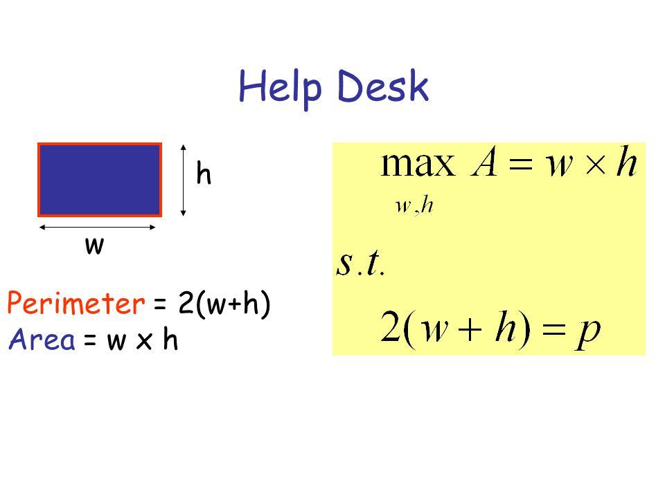Help Desk h w Perimeter = 2(w+h) Area = w x h
