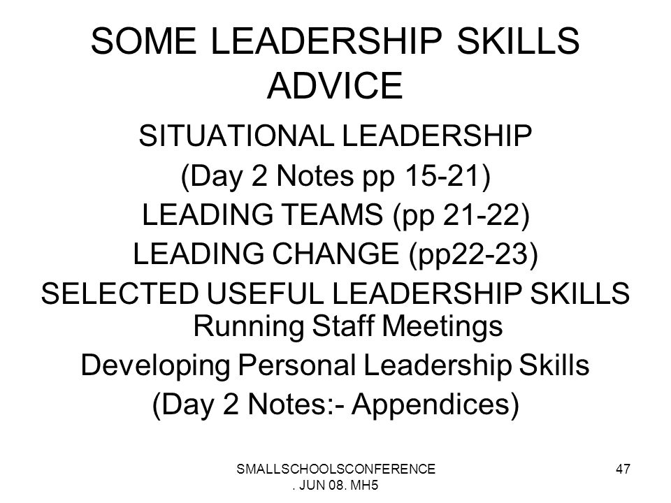 SMALLSCHOOLSCONFERENCE. JUN 08. MH5 46 WORKSHOP 4 INTEGRATING LEADERSHIP INTO SCHOOLS