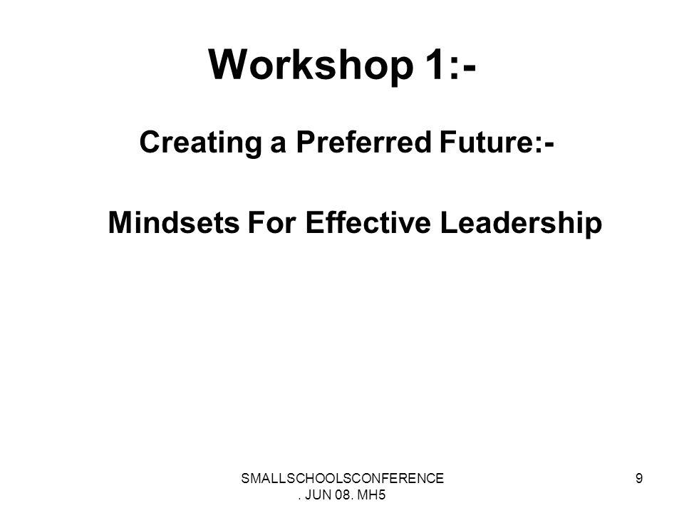 SMALLSCHOOLSCONFERENCE. JUN 08. MH5 19 Workshop 2 Building Emotional and Moral Intelligences